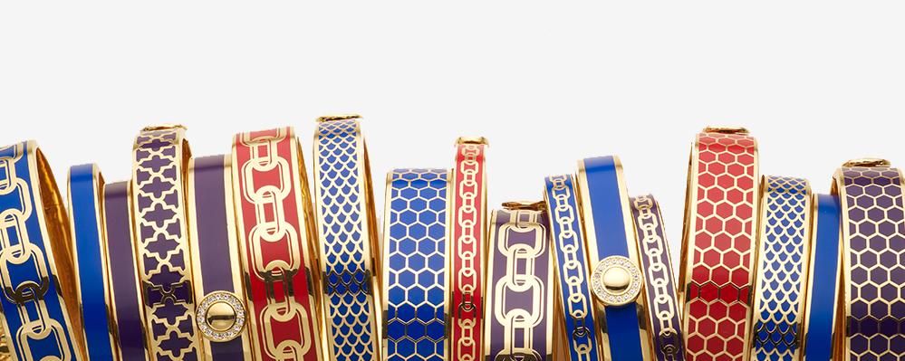 Halcyon Days Gold Enamel Bangles Bracelets Hinged