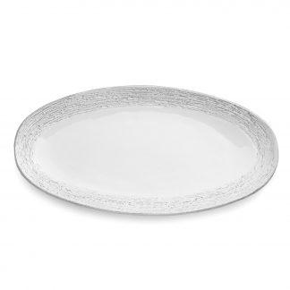 Arte Italica Graffiata White Oval Platter