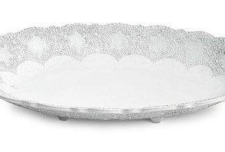 Arte Italica Merletto White Large Oval Footed Tray