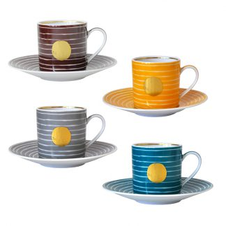 Bernardaud Aboro Ad Cup & Saucer - Set Of 4