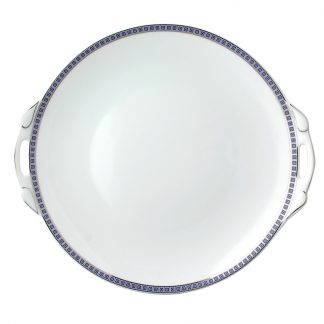 """Bernardaud Athena Navy Cake Plate With Handles - Round 11"""""""