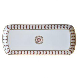 "Bernardaud Constance Rouge Cake Platter Rectangular 15"""