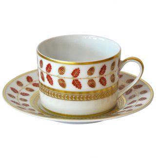 Bernardaud Constance Rouge Tea Cup And Saucer