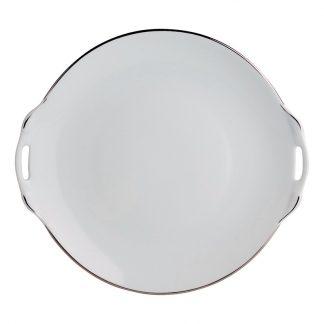 "Bernardaud Cristal Cake Plate With Handles - Round 11"""