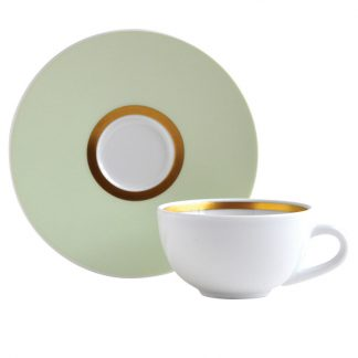 Bernardaud Cronos Amande Coffee Cup And Saucer - Set Of 2