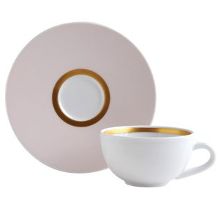 Bernardaud Cronos Rose Coffee Cup And Saucer - Set Of 2