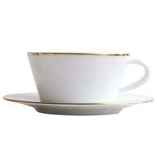 Bernardaud Duo Or Tea Cup & Saucer 5.7 Oz