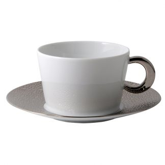 Bernardaud Ecume Platine Breakfast Cup And Saucer