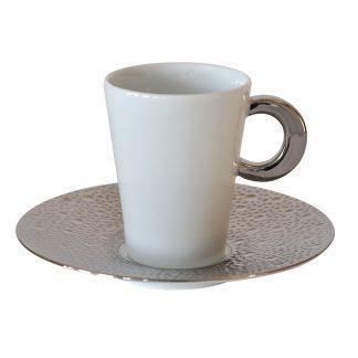 Bernardaud Ecume Platine Coffee Cup Saucer