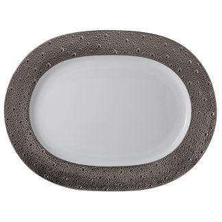 "Bernardaud Ecume Platine Oval Platter 11.8"""