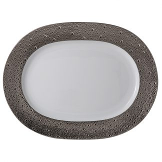 "Bernardaud Ecume Platine Oval Platter 13.8"""