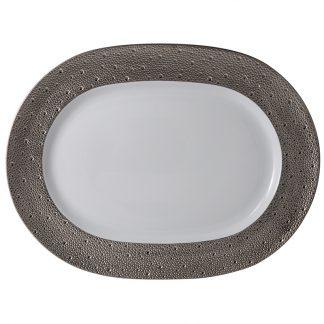 "Bernardaud Ecume Platine Oval Platter 17"""