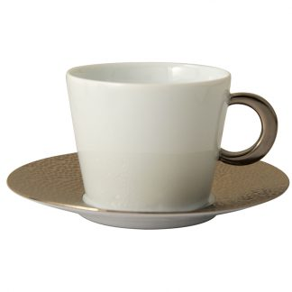Bernardaud Ecume Platine Tea Cup Saucer