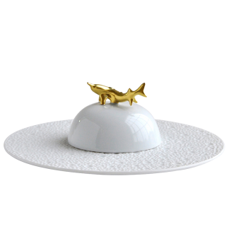 Bernardaud Ecume White Set Of Caviar Plate And Bell Covert