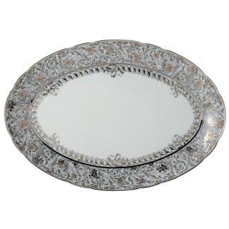 "Bernardaud Eden Platine Oval Platter 13"""