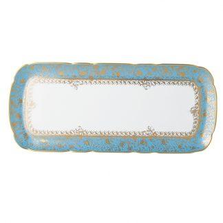 "Bernardaud Eden Turquoise Cake Platter Rectangular 16"""