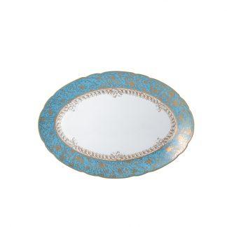 "Bernardaud Eden Turquoise Oval Platter 13"""