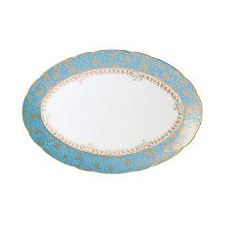 "Bernardaud Eden Turquoise Oval Platter 15"""