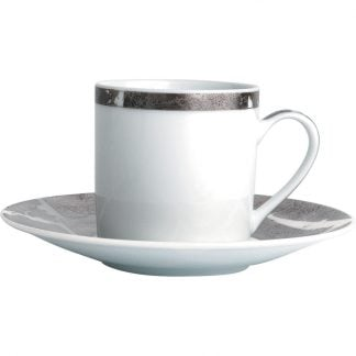 Bernardaud Feuille D'argent Coffee Cup And Saucer