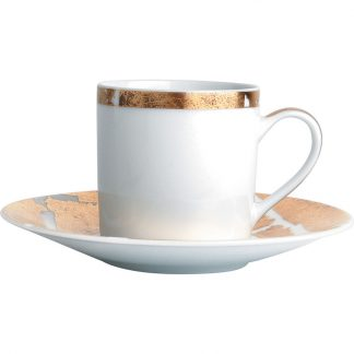 Bernardaud Feuille D'or Coffee Cup And Saucer