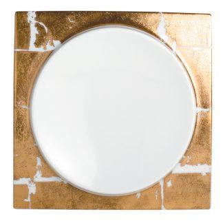 """Bernardaud Feuille D'or Salad Plate - Luna Shape 8.5"""" X 8.5"""""""