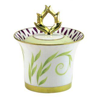 Bernardaud Frivole Sugar Bowl / Covered Box (Arabesque Shape) 8.5oz