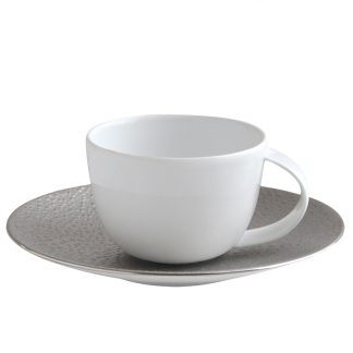 Bernardaud Gouttes D'argent Coffee Cup And Saucer