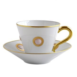 Bernardaud Ithaque Or Coffee Cup And Saucer - Set Of 6 4.4 Oz