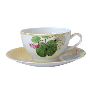 Bernardaud Jardin Indien Jumbo Cup & Saucer - Set Of 2