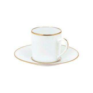 Christofle Albi Gilded Porcelain Demitasse Cup And Saucer