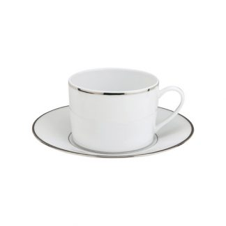 Christofle Albi Porcelain Coffee Or Tea Cup And Saucer