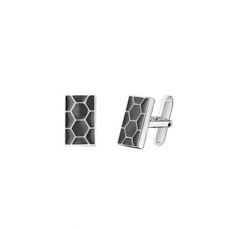 Christofle Code Royale Sterling Silver And Grey Enamel Cufflinks