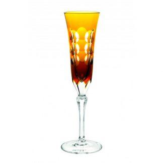Christofle Kawali Amber Crystal Champagne Flute