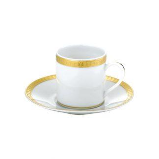 Christofle Malmaison Gilded Porcelain Demitasse Cup And Saucer