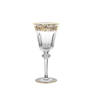 Christofle Marly Crystal Red Wine Glass With Gold Inlay