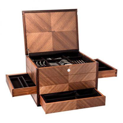 Christofle Prestige Walnut Marquetry Flatware Storage Chest