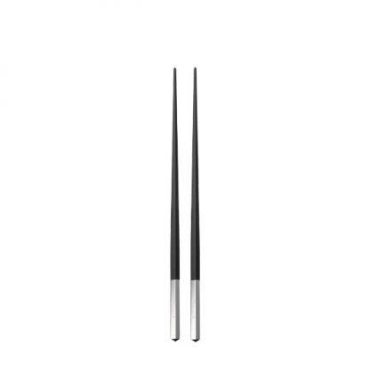 Christofle Uni Silver Plated Black Japanese Chopsticks