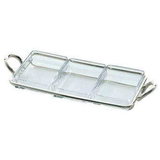Christofle Vertigo Silver Plated And Glass Three Part Snack Server