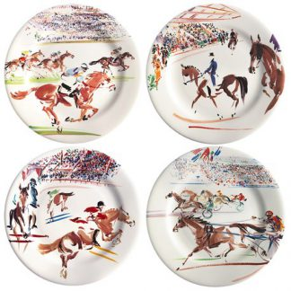 Gien Cavaliers Canape Plates Assorted Set Of 4