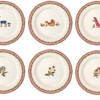 Gien Jardin Imaginaire Dessert Plates Assorted Set Of 6