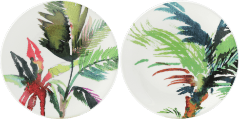 Gien Jardins Extraordinaires Vegetal Canape Plates - Set Of 4 Assorted