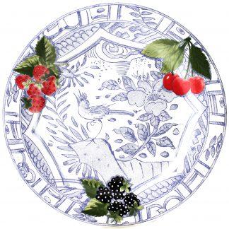Gien Oiseau Bleu Fruits Dinner Plate