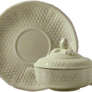 Gien Pont Aux Choux Cream Covered Bouillon Cups Saucers Set Of 2