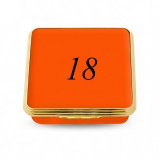 Halcyon Days 18 Contemporary Number Shallow Base Box Orange