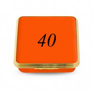 Halcyon Days 40 Contemporary Number Shallow Base Box Orange