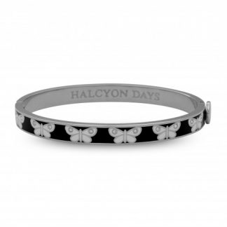 Halcyon Days Skinny Butterfly Black & Palladium Bangle