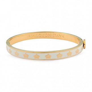 Halcyon Days Skinny Crown Cream & Gold Bangle