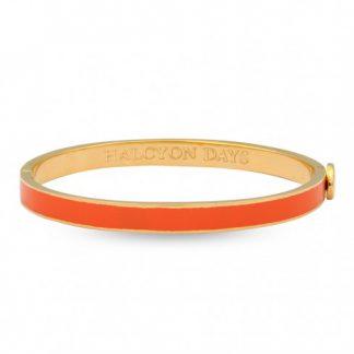 Halcyon Days Skinny Plain Orange & Gold Bangle