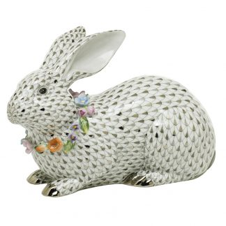 Herend Bunnies Gray Bunny With Garland