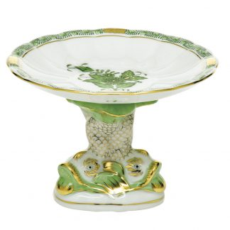 Herend Chinese Bouquet Green Shell With Dolphin Stand
